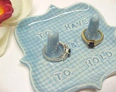 Ring Holder Dish - To Have & To Hold - Ceramic Double Post - Wedding Gift for Couple - Light Blue Pottery