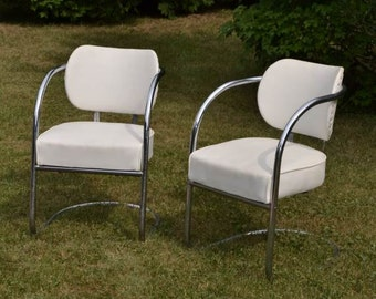 Mid Century Modern Chairs 1950s Chrome Chairs Cantilever