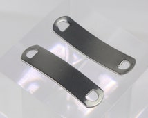 """10pcs Stainless Steel Bracelet Tags Stamping Link Blanks - 3/8""""x1.5"""" Rectangle Blank Message Metal Bar Tag Charms - Instant Ship - USA"""