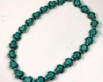 25 pcs Turtle Beads Howlite Turquoise Turtle Pendant - 15x19mm 7mm thickness