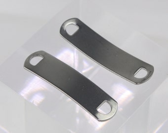 "100 pcs Stainless Steel Bracelet Tags Stamping Link Blanks - 3/8""x1.5"" Rectangle Blank Message Metal Bar Tag Charms - Instant Ship - USA"