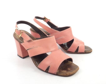 Coral Heels Shoes Vintage 1960s Strappy Bandolino Block heel Women's size 5 M
