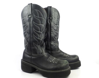 John Fluevog Boots Vintage 1990s Black Tall Cowboy Leather F shoes Women's Size 8