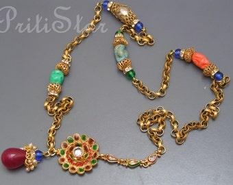 Artisan Necklace . Peking glass . gold gilt brass filigree Long Necklace jewelry