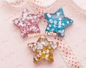 Super Glittery Confetti Puffy Star Flatback Resin Cabochon - 6pc | Resin Cabochon Decoden Supplies Jewelry Making Flatback Resin Cabochon
