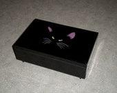 awesome lacquer ware BLACK CAT jewelry trinket Memory Music Box mirror Otagiri Cheryl Fleischer design