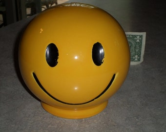 McCoy Pottery yellow SMILEY FACE round BANK happy face for money coins