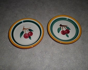 two Stangl Pottery Trenton NJ red Cherry fruit orchard Coaster mini plate