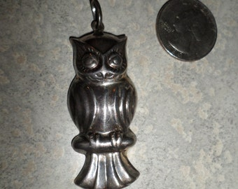 large sterling silver 925 OWL perched on branch PENDANT necklace charm