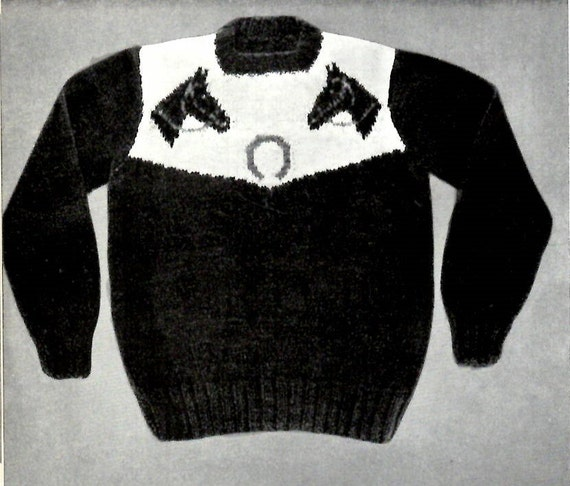 Lucky Ponies Sweater Knitting PATTERN Western Horse Cowboy