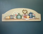 Tea Cups Coffee Pots Hand Painted Wood Plaque 529