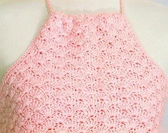 Halter Top Pink Blush Crochet Cotton
