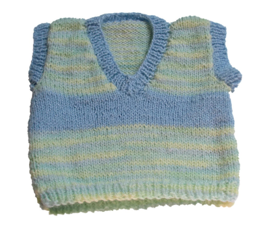 Arm Knitting Vest : Blue striped hand knitted baby vest