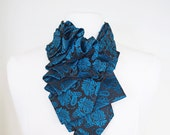 Lapel in Spring Moon - Edwardian Silk Ruffle Teal Paisley Couture Necktie Collar