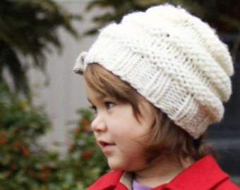 Hat Knitting Pattern, PDF Knitting Pattern, Knit Beehive Hat Pattern, Hat with Bow, Child and Adult sizes - JOSIE