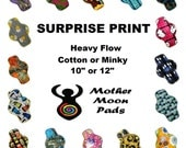 "SALE Surprise Print Heavy Cloth Pad ~ Choose 10"" or 12"" ~ Choose Cotton Woven, Flannel, or Minky MotherMoonPads Cloth Menstrual Pad"