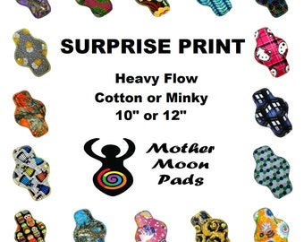 """SALE Surprise Print Heavy Cloth Pad ~ Choose 10"""" or 12"""" ~ Choose Cotton Woven, Flannel, or Minky MotherMoonPads Cloth Menstrual Pad"""