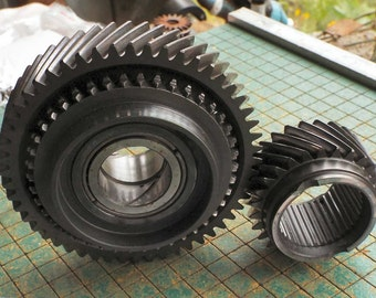2 Iron Gears, Car Parts, roller bearings, helical cut, transmission cogs, steampunk, industrial art, metal sculpture, paperweight, man cave