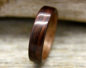 Wooden Ring - Indian Rosewood Bentwood Ring Lined With Walnut- Handcrafted Wood Wedding Ring - Custom Made