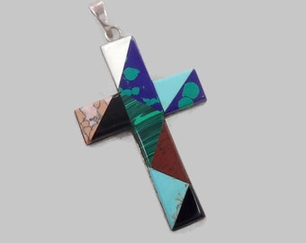 "Vintage Cross, 3"", Sterling Silver, Turquoise Onyx, Jasper, Malachite Azurite, Mexico Stone Inlay, Vintage Pendant, Big Large, Multi Stone"