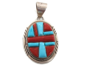 Turquoise Pendant, Red Coral, Vintage Pendant, Sterling Silver, Native American, Inlaid Inlay, Southwestern, Big Statement, Large Pendant