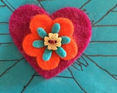 Handmade Wool Felt HEART & FLOWER' Brooch with Wooden Button - Purple Red and Teal