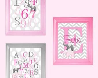 Set of 3 Personalized Pink Gray Elephants Name Saying ABC Alphabet Boys Bedroom Nursery 8 x 10 ART PRINTS