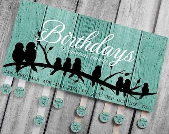 Personalized BIRTHDAY BOARD Rustic Birds Family Birthdays Teacher Classroom Birthday Wall Décor Organizer Grandparent Gift Bb0002