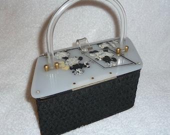Vintage Pinup Girl Poodle Dog Lucite Purse Bag Rockabilly Bag 1950s Black White RARE
