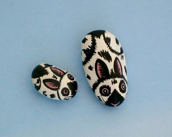 Miniatures for fairy gardens-2 spotted white rabbits-painted rocks-DIY moss terrarium kits-fairy garden accessories-dollhouse miniature pets