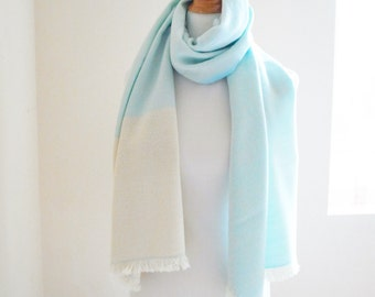 "Big Merino Cashmere Scarf in Sky blue and White 18"" x 75"", 46 x 191 cm color block This Item is Sold at KOBO seattle, thank you!"