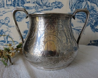 Vintage French Engraved Silver Plated Sugar Bowl / Antique Silver Plate Tableware / Vintage Dining / Vintage Serving / Paris Apartment Chic