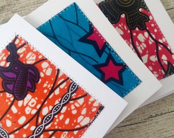60 African wax print stitched card set with envelopes