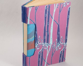 Journal, Notebook, Sketchbook or Guestbook, Hand-Bound with a Lavender Purple Tree and Nature Cover