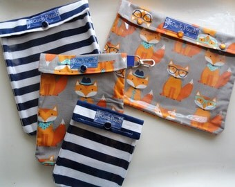 Foxes and Navy Stripes Clear Front Ouch Pouch Diaper Bag Organizers 4 Sizes Baby / Toddler Supplies First Aid Wipes Cases