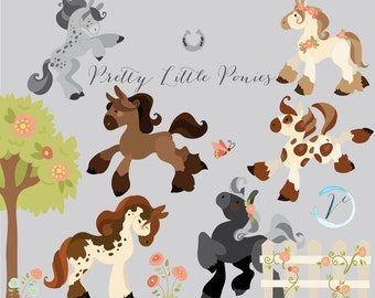 Instant Download - Pretty Ponies: Digital Vector Clipart Set, Commercial Use