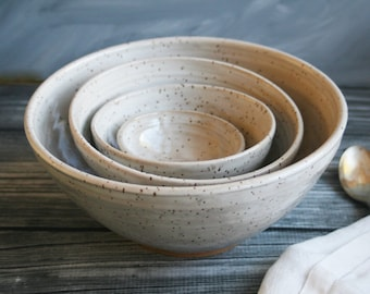 Rustic Speckled Nesting Bowls, Ceramic Set of Four Bowls Brown and Cream Handmade Pottery Bowls Ready to Ship Made in USA