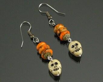 Halloween Earrings, Unique Halloween Jewelry Gift for Women, Rustic Skull Earrings, Orange Black Dangle Earrings, Skull Jewelry, Skull Beads