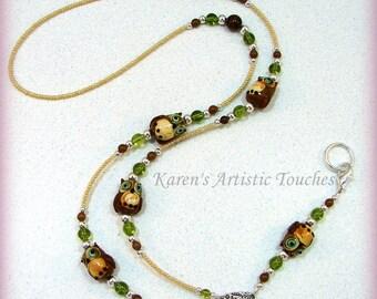 Brown Owl Pearl Glass Beaded Lanyard ID Badge Holder