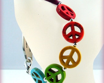 Rainbow Peace Sign Beaded Medical ID Tag Replacement Bracelet