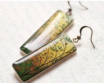 Yellow long earrings - Mustard earrings - Autumn trees earring - Autumn jewelry (E033)