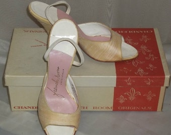 ON SALE Vintage Deadstock 1950's Chandler's French Room Originals Silk Heels Shoes Pumps 6 1/2B w/Box