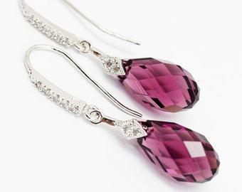 Earrings, Amethyst Eggplant Earrings, Cubic Zirconia Sterling White Gold Swarovski Crystal Briolette 17mm Purple Bridesmaids Bridal Earrings