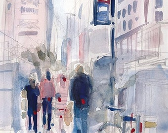 Sale Original Watercolor Painting - Sunny Day 41 STREET New York City (Bryant Park)  or 8.5 x 11 Print
