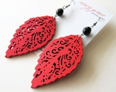 Red Wooden Leaf and Black Glass Earrings. Woodland Hippie