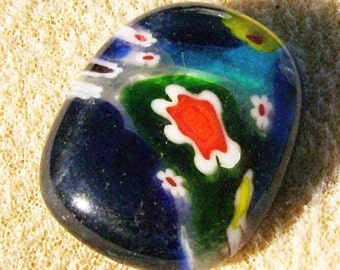 Fused Glass Cabochon - Handmade Flower Power, Dark Blue Multicolored by JewelryArtistry - DC426