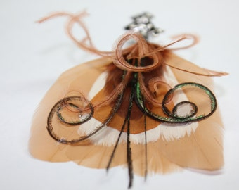 """Men's Lapel Pin, Feather Boutonniere, Hat Pin Brooch """"Jacob"""" - beige, white, cocoa, feathers with silver toned pin base"""