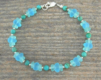 Aqua 'Sea Glass' and Turquoise Anklet - Natural Stone & 'Beach Glass' Chips with Sterling Silver Spacers, 9 inch, 10, 11 inch, 12 inch++