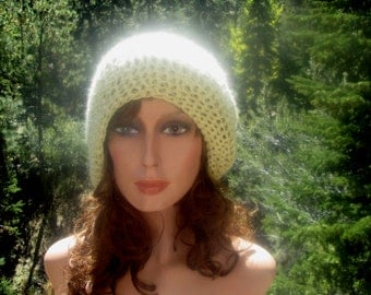 Slouchy Beanie Hat Sparkling Champagne Wool Blend Crocheted
