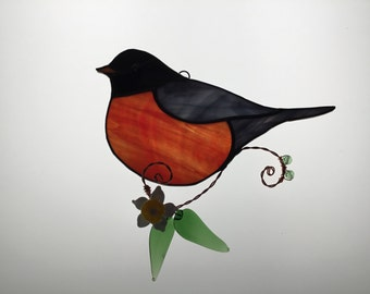 Robin Stained Glass Sun Catcher